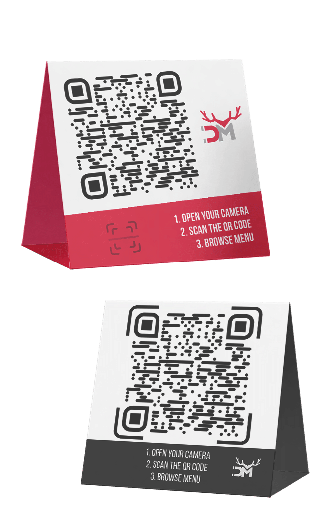 qr code menu cards to put on tables in a restaurant